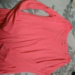 Pink Vneck Long Sleeve Shirt